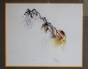 Branche animée, encre. Living branch, ink