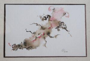 Arthropode rose, encre. Pink arthropod, ink